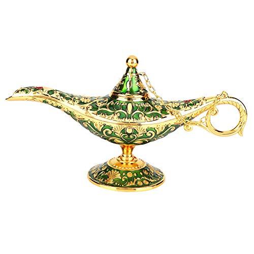 Magische lamp metaal gesneden legende die olielamp wierookbranders wenst - handwerk vintage stijl olielamp magische lamp, huisdecoratie, tafeldecoratie decoratie voor meubels (groen)