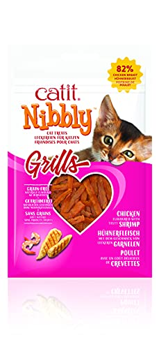 Catit Nibbly Grills Kaustreifen für Katzen aus Hühnerbrustfilet mit Garnelen, 30 g