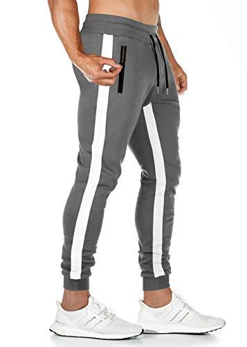 Lantch Jogginghose Herren Hose Baumwolle Jogger Sportswear Hosen Fitness Slim Fit Sporthose Männer Trainingshose Streifen Freizeithose Streetwear(DGA,M)