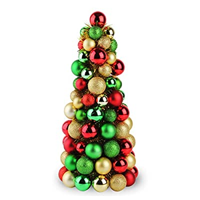 Costyleen 16 Inch Christmas Ball Tree Fireplace Table Decoration Home Party Decorative Ball Ornaments Xmas Tree Decors Red Gold Green