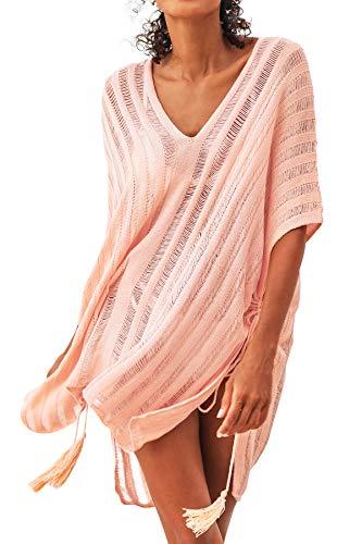 CUPSHE Women's Vertical Stripe Crochet Tassel Tie Side Knit Cover Up Pink