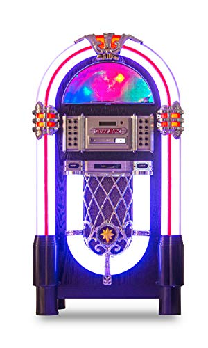 Retro Jukebox Wireless Bluetooth Color-Changing Wood Full-Size Sound System