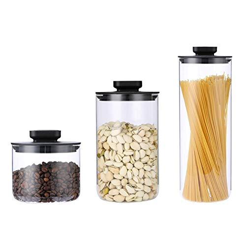 Food Storage Jar,500ML,1000ML,1800ML Air Tight Storage Jar,Best Premium Airtight Storage Container for Coffee Beans, Tea and Dry Goods with Stainless Steel lid