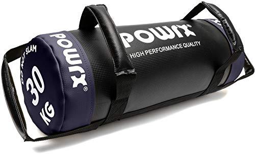 POWRX - Sandbag 5 kg, 10 kg, 15 kg, 20 kg, 25 kg, 30 kg - Perfetta per Migliorare Equilibrio, Forza, flessibilità, coordinazione e circolazione - Power Bag (20 kg/Blu)