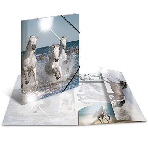 HERMA 19338 Sammelmappe DIN A3 Tiere Pferde, stabiler Kunststoff, Ordnungsmappe mit Hochglanz-Effekt, farbig bedruckten Innenklappen und Gummizug, Zeichenmappe für Kinder, Mädchen und Jungen