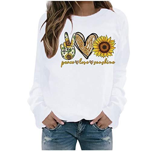 Xmiral Sweatshirt Pullover Damen Langarm Rundhals Gedruckt Lässiger Blusen Oberteile Herbst Winter Lose Warmes Bottoming Shirt(b-Weiß,L)