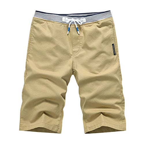 Men's Casual Classic Fit Shorts - Summer Solid Color Loose Comfort Elastic WAIS Sports Beach Short Pants with Drawstring Khaki