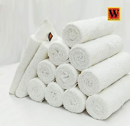 Westlane Linens - Asciugamani per Parrucchiere, in Puro Cotone, Resistente al Cloro, candeggina, Colore: Bianco, 100% Cotone, 12 Pezzi, 50x90cm