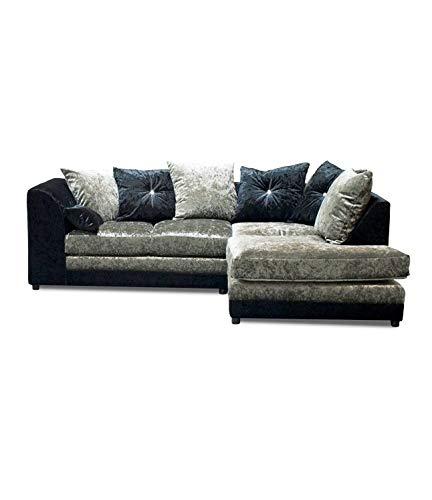Zinc Crushed Velvet Right Hand Corner Sofa Black & Silver