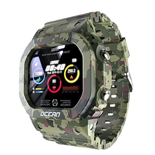 MERIGLARE Reloj Inteligente con Frecuencia Cardíaca, Deportes Múltiples, IP68, Resistente Al Agua para Hombres, Regalo - Verde