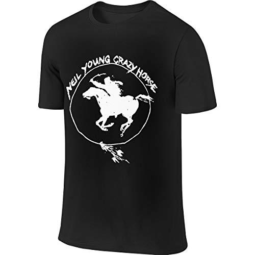 Mens Neil Young Crazy Horse Logo Clothes T Shirt Short Sleeve Black L Tee T Shirt CEW Neck Summer Tshirt for Men