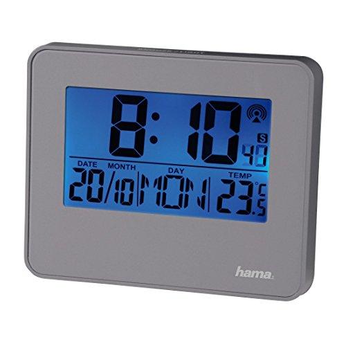Hama Funkwecker RC 650 (2 Weckzeiten, Hintergrundbeleuchtung und Schlummerfunktion per Bewegungssensor steuerbar) Wecker grau