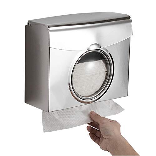 Tidyard Papierhandtuchspender Doppelspender Papierhandtuchhalter Spender Wandmontagebohrung Wasserdichter Bad-Toiletten-Gewebespender Edelstahl Küchenpapier-Handtuchspender mit sichtbarem Fenster
