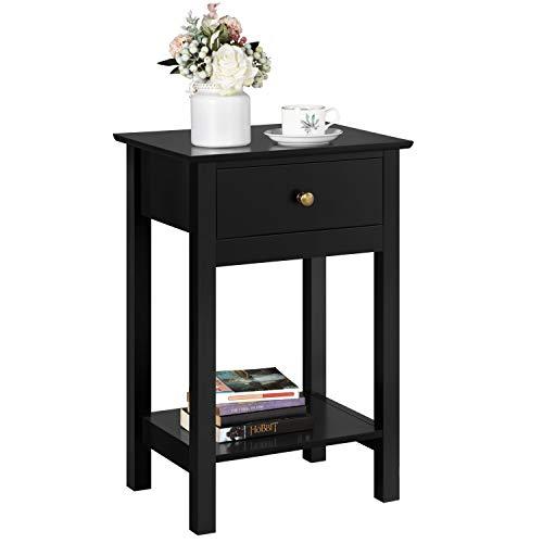 Yaheetech Nachttisch mit Schublade, Beistelltisch mit Ablage, Nachtkonsole Kommode Sofatisch, 40 x 30 x 61 cm Schwarz