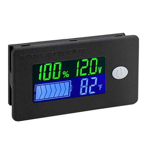 Battery Capacity Monitor, DROK 10-100v Battery Meter, 12v 24v 48v Battery Power Percentage Voltage Fahrenheit Temperature Indicator Gauge