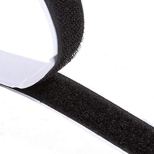 Doppelseitig Klebende,8M Extra Stark Klettverschluss Klettband Selbstklebend Langfristige Selbstklebendes Klettband Doppelseitiges Klebeband Klebepad, 20mm Breit Schwarz