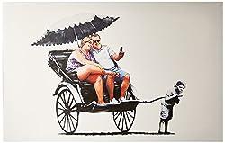 iCanvasART Rickshaw Kid by Banksy Canvas Art Print