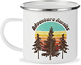 Adventure Awaits Retro 12oz Enamel Campfire Mug, Outdoor Enthusiast Camping Coffee Cup, Mountain Nature Hiking Camp Lover Gift