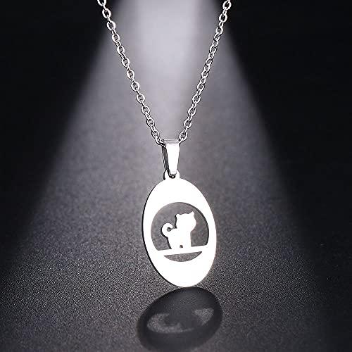 YQMR Colgante Collar para Mujer,Señoras Elegante Colgante Collar Grabado Plata Hueco Gato Animal...