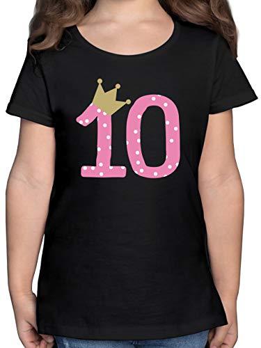 Kindergeburtstag Geschenk - 10. Geburtstag Krone Mädchen Zehnter - 164 (14/15 Jahre) - Schwarz - Geschenke für mädchen 11 Jahre - F131K - Mädchen Kinder T-Shirt
