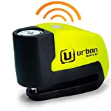urban UR6 Candado Antirrobo Disco con Alarma+Warning 120dBA, 6 mm, Made In EU, Amarillo Flúor, Única