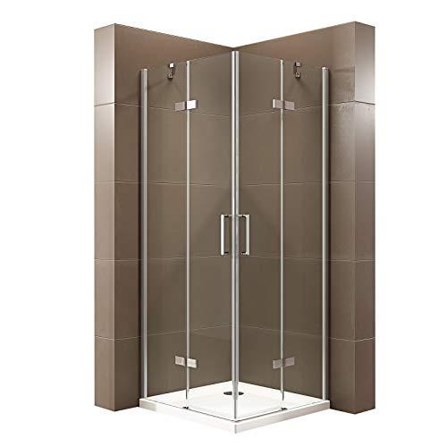 Duschabtrennung mit Drehtür Eckeinstieg Dusche EX809-Kombi Nano Hebe-Senk-Mechanismus 6mm ESG-Sicherheitsglas, Maße Duschkabine:90x90cm, Duschtasse:Ohne Duschtasse