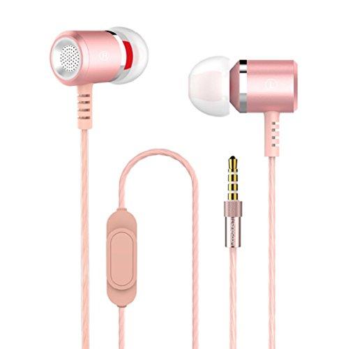 In-Ear-Kopfhörer 98dB Stereo Ohrhörer aus Metall Alu mit Mikrofon für alle Smartphones, MP3-Player HiFi Klangqualität Optimale Lärmdämmung Extra Bass (Rosa)