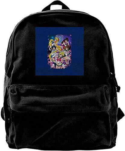Canvas Backpack Sailor Moon Super Group Rucksack Gym Hiking Laptop Shoulder Bag Daypack for Men Women