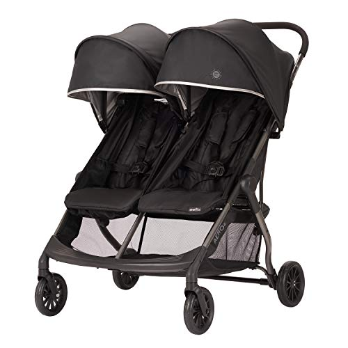 Evenflo Aero2 Ultra-Lightweight Double Stroller, Compact, Self-Standing Folding Design, Shopping Basket Single-Child Mode, Seatback Storage Pocket, 2 Mesh in-Seat Pockets, 50-lb Per Seat, Lark Black