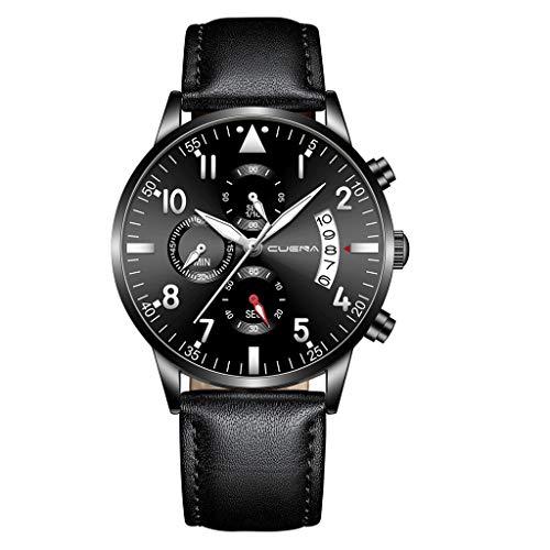 Armbanduhr herren Liusdh Uhren Leaderband Herrenuhr Multi-Dial Quarz-Legierung mit Kalender Business uhr(C,Einheitsgröße)