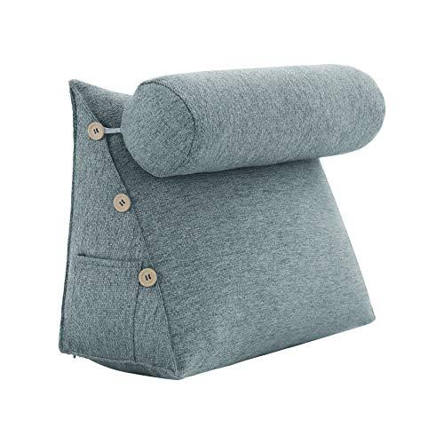 VERCART Rückenkissen Nackenrolle Keilkissen Stützkissen Nackenstützkissen Kopfkissen Groß Kissen Bettkissen Wedge Pillow für Sofa Bett Couch Leinen Grau 60x50x22cm