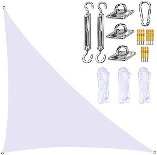 TBNOONE Parasol Triangular para Velas de jardín con Kit de fijación, toldo para Velas de jardín, 3 Cuerdas, Bloque UV e Impermeable, toldos para sombrillas de jardín para Patios(5m x 5m x 7m,White)