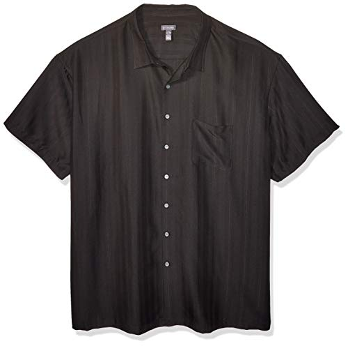 Van Heusen Men's Size Big Air Short Sleeve Button Down Poly Rayon Stripe Shirt, Black 1, X-Large Tall