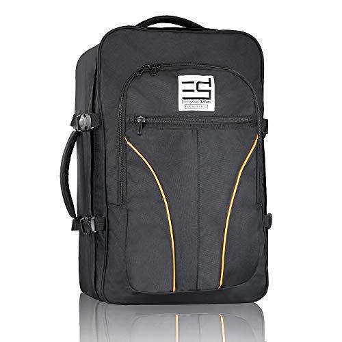 EveryDaySafari® [Ryanair handbagage geschikt] 55 x 40 x 20 cm maat voldoet aan de bepalingen, bagage, reis-rugzak, reis-bagage, koffertas zwart
