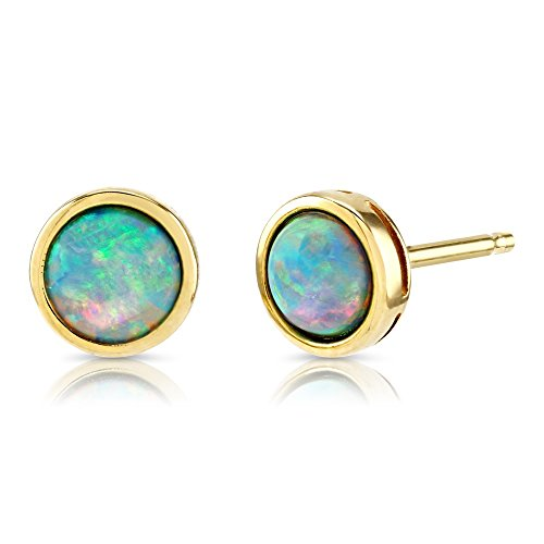 Paul Wright Created Opal Stud Earrings, 9ct Yellow Gold, 5mm Round