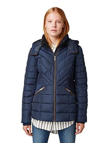 TOM TAILOR Damen Jacken & Jackets Steppjacke mit Lederimitat Real Navy Blue,S
