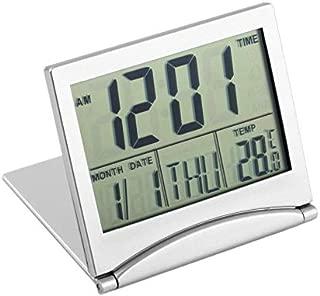FinukGo Modern Design Folding Portable Desk Digital LCD Display Thermometer Calendar Alarm Clock Flexible Cover Data Time Desk Clock - Silver