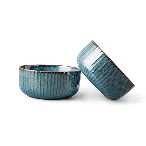 CSYY 2er Set Groß Müslischalen aus Porzellan, Hoteck Suppenschüsseln, Keramik Schalen, Suppenschalen,Schüssel Retro Geschirr, Blau Serie(15.5CM)