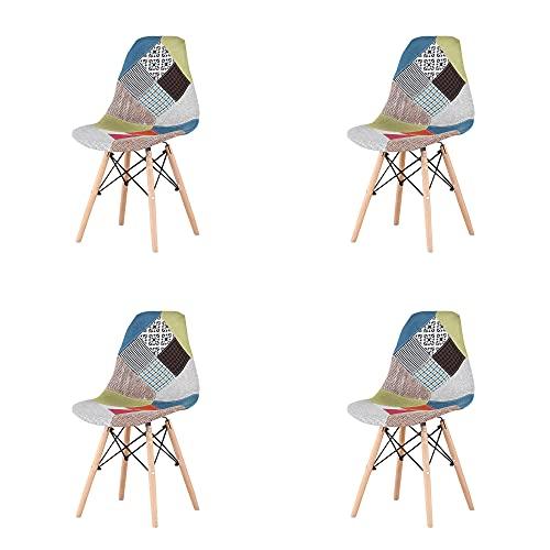 4er Set Esszimmerstühle Esszimmerstuhl, Dining Bürostuhl, Küchenstuhl Polsterstuhl Stuhl mit Rückenlehne, Ergonomischem Design, RotB