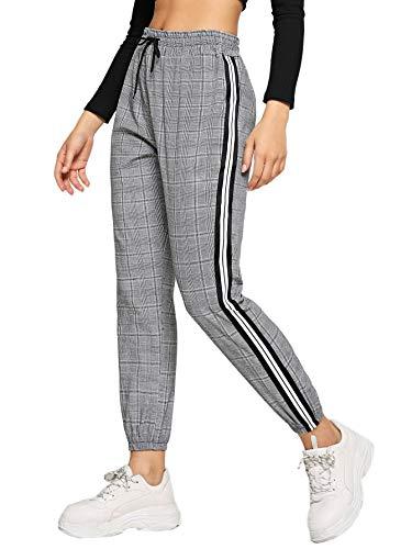 SweatyRocks Women's Plaid Drawstring Waist Striped Side Casual Crop Pants Grey Plaid Small