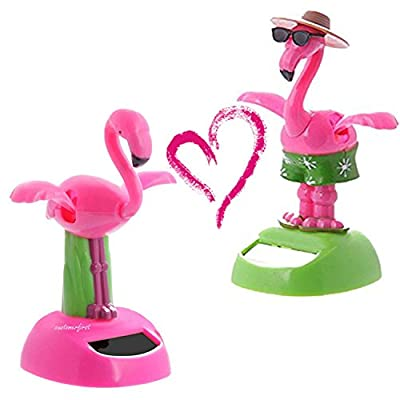 URTop 2Pcs Desk Dancing Solar Toy Flipping Wings Flamingo Animal Solar Powered Toys Dashboard Office Desk Home Decoration Novelty Solar Kids Christmas Toy