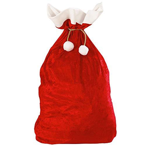Widmann 1561X - Weihnachtsmann Sack, aus Samt, 60 x 100 cm, rot-weiß, Nikolaus, Beutel, Accessoire, Zubehör, Motto Party, Karneval, Weihnachten
