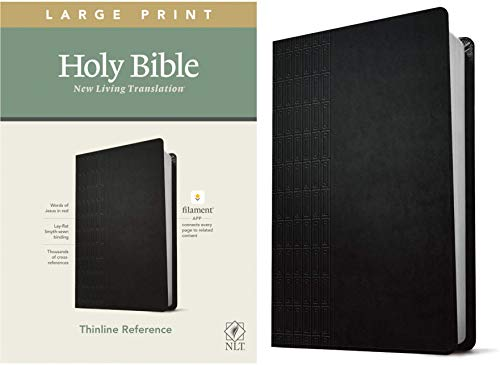 NLT Large Print Thinline Reference Holy Bible (Red Letter, LeatherLike, Cross Grip Black): Includes Free Access to the Filament Bible App Delivering Study Notes, Devotionals, Worship Music, and Video