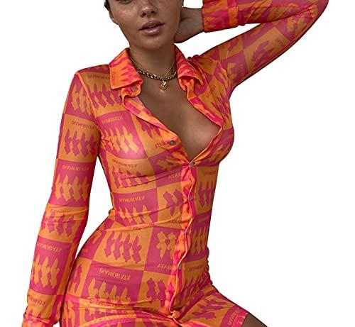 Madger Vestido de camisa para mujer de manga larga con botones y botones, Y2K Vintage Casual Mini vestido sexy blusa corta