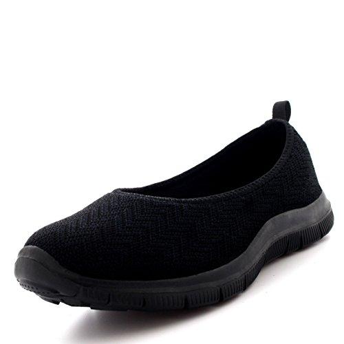 Mujer Bailarina Aptitud Yoga para Caminar Corriendo Deportes Gimnasio Ligero Malla Zapatillas - Negro/Negro - UK7/EU40 - BS0107