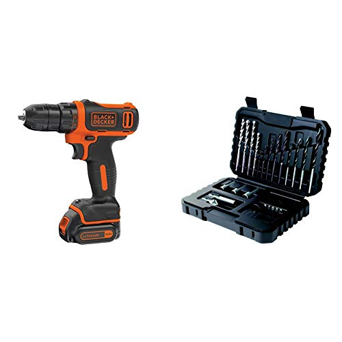 BLACK+DECKER 10.8 V Cordless Compact Electric Drill Driver, 1.5 Ah Lithium-Ion, BDCDD12-GB with BLACK+DECKER Drilling and Screwdriver Bit Set - 32 Piece