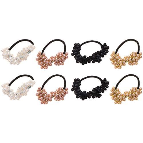Lurrose 8pcs perle cheveux cravates simples à la mode artificielle élastique queue de cheval titulaires cheveux cordes cravates cheveux pour femmes dames women noir blanc brun doré)