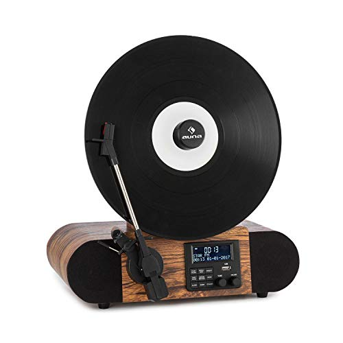 AUNA Verticalo SE DAB Retro Turntable - Vertical Turntable, DAB + Radio Tuner, FM Tuner, Stereo Speakers, MP3-Compatible USB Port, Bluetooth Function, AUX Input, LCD display, Headphone Output