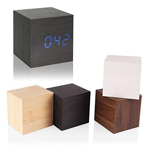 TTAotech klok van hout, digitale wekker, comfortabel voor binnen en buiten, kleur: bruin (rood display) M Black Wood Blue Letter