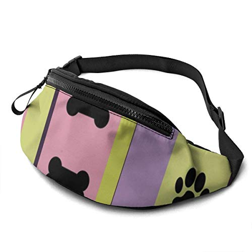 Unisex Casual Waist Bag Dog Themed Stripes Large Scale Fanny Pack Money Bum Bag with Adjustable Belt for Running Sports Climbing Travel